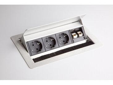 ELDATA 1 | Bloc multiprises (montage incl.) | 3 x prises de courant | 2 x RJ45 - Argent