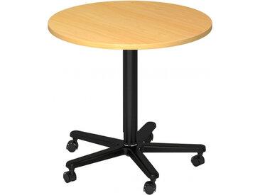 BISTRO 80R D - Système de tables conférence Hêtre noir Ø 80