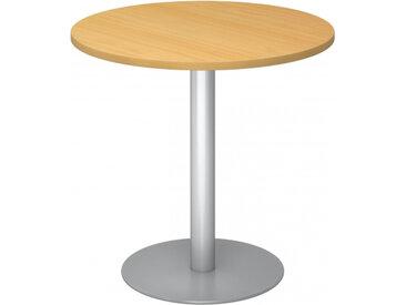 BISTRO F80R S - Système de tables conférence Hêtre argent Ø 80