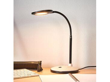 Lampe de bureau LED Ivan en gris clair et noir