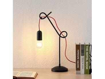 Lucande Jorna lampe à poser en noir, câble rouge
