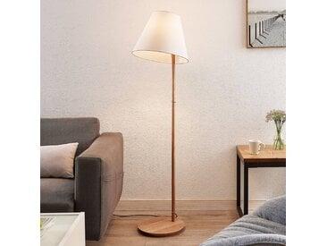Lucande Jinda lampadaire support bois, tissu blanc