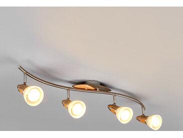 Plafonnier LED en bois Marena à 4 lampes, E14
