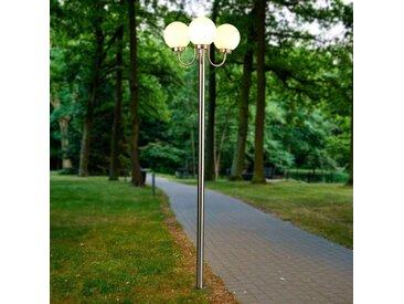 Lampadaire d'extérieur Laci en inox à 3 lampes– LAMPENWELT.com