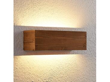 Lindby Benicio applique LED bois, angulaire, 37cm