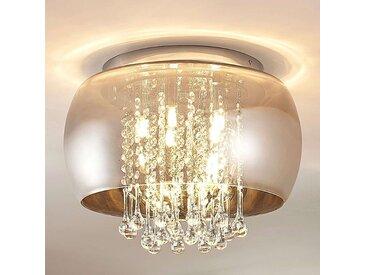Plafonnier LED Joani, verre gris fumé– LAMPENWELT.com