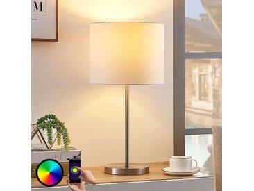 Lindby Smart lampe à poser tissu Everly, LED RVB– LAMPENWELT.com