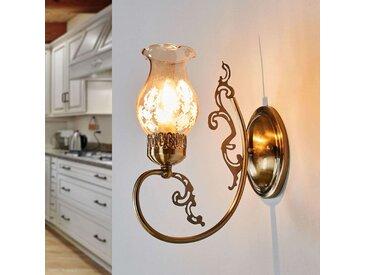 Applique antique Heti avec abat-jour en verre– LAMPENWELT.com