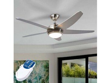 Ventilateur de plafond argenté Anneka avec lumière– LAMPENWELT.com