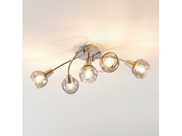 Lindby Almina Plafonnier, verre fumé, 5 lampes