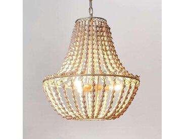 Lustre Juliette en perles de bois blanches– LAMPENWELT.com