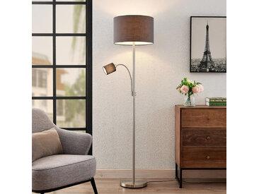 Lindby Jaileen lampadaire en tissu, liseuse, gris