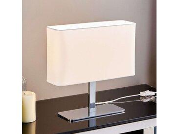 Lampe à poser textile rectangulaire blanche Nisa– LAMPENWELT.com