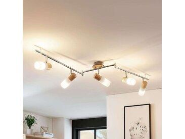 Beau plafonnier LED Christoph en bois, 5 lampes– LAMPENWELT.com