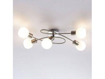 Beau plafonnier LED Elaina à 5 lampes, nickel mat