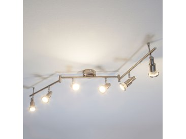 Plafonnier LED Aron aspect nickel à 6 lampes