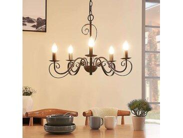 Lustre Caleb à cinq lampes, couleur rouille– LAMPENWELT.com
