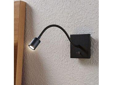 Liseuse murale LED Mayar à bras flexible, noire– LAMPENWELT.com