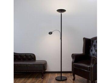 Lampadaire indirect LED Malea + bras liseuse, noir