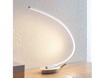 Lampe à poser LED Nalevi, arquée, argentée