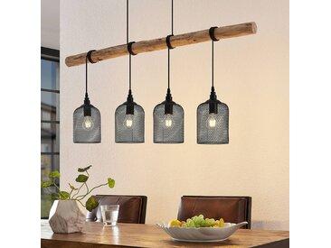 Lindby Elrond suspension avec bois, à 4 lampes