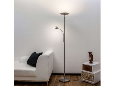 Malea lampadaire indirect LED avec liseuse, nickel– LAMPENWELT.com