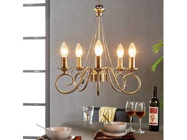 Élégant lustre Marnia en laiton ancien, 5lampes– LAMPENWELT.com