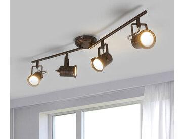 Plafonnier LED à 4 lampes, style rustique
