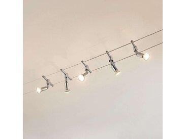 Système sur câble Rope à 5 lampes avec spots LED– LAMPENWELT.com