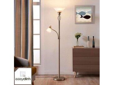 Lampadaire LED Dunja couleur nickel avec liseuse– LAMPENWELT.com