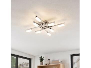 Lindby Mally plafonnier LED chromé à 8 lampes