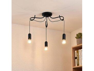 Lucande Jorna plafonnier, 3 lampes, câble gris