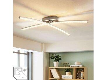 Plafonnier LED chromé Laurenzia, variateur– LAMPENWELT.com