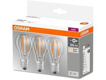 Ampoule filament LED E27 6 W blanc chaud, kit de 3