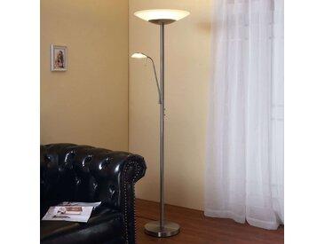 Lampadaire indirect LED Ragna liseuse, nickel mat– LAMPENWELT.com