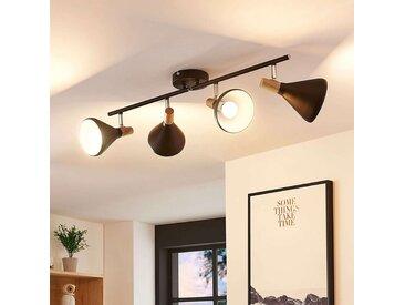 Plafonnier avec spots LED Arina noir, détails bois– LAMPENWELT.com