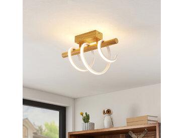 Lucande Milora plafonnier LED 40cm, chêne