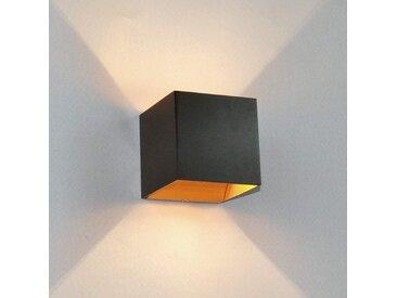 Applique LED Aldrina, noir avec intérieur doré– LAMPENWELT.com