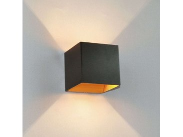 Applique LED Aldrina, noir avec intérieur doré