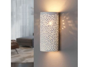 Applique à motif à trous Jiru en plâtre blanc– LAMPENWELT.com