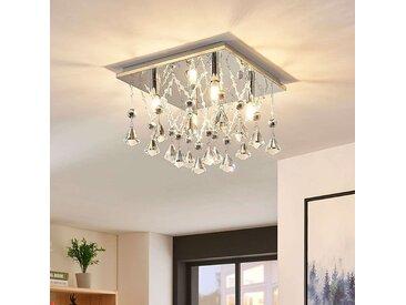 Plafonnier LED cristal Saori, chromé– LAMPENWELT.com