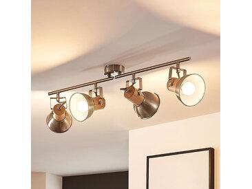 Plafonnier LED Dennis bois, quatre lampes