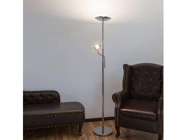 Lampadaire indirect LED Malea chromé et liseuse– LAMPENWELT.com