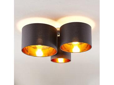 Lindby Laurenz plafonnier, 3 lampes, gris-doré