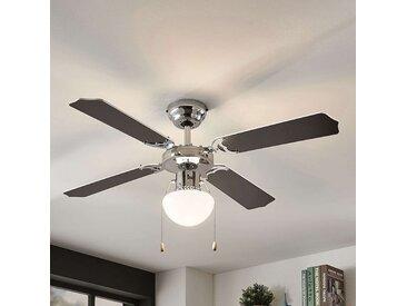Ventilateur de plafond Joulin, éclairé, noir/blanc– LAMPENWELT.com