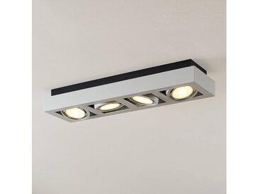 Spot plafond LED Ronka, 4lampes, allongé, blanc
