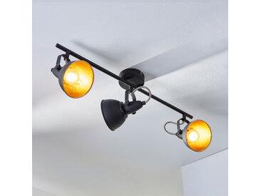 Plafonnier à trois lampes Julin, noir doré