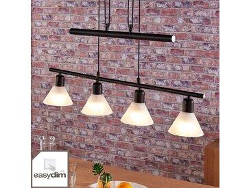 Suspension LED Eleasa, easydim à 4 lampes, noire