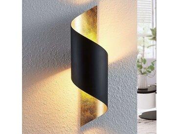 Applique Vanni en métal, torsadée, noir-or– LAMPENWELT.com