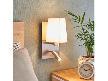 Applique Aiden à liseuse LED, blanche, nickel